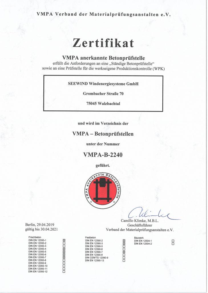 Zertifizierte VMPA Betonprüfstelle