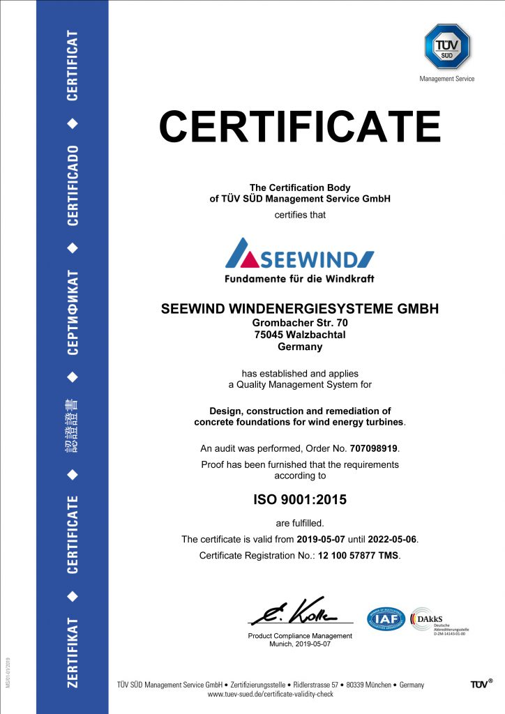 TÜV Süd ISO 9001 Certificate for SEEWIND Germany